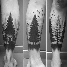 tattoo-by-carlesbonafe Tree Leg Tattoo, Forest Tattoo Sleeve, Forest Forearm Tattoo, Forearm Tattoos, Body Art Tattoos, Mens Leg Tattoo, Tattoo Drawings, Calf Tattoo Men, Maori Tattoos