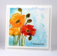 When I posted the first card made with the 'fresh' stamp I mentioned another watercolour panel where I painted the same stamped poppies but had created a different effect. Once again I stamped the ...