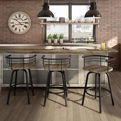 Amisco Brisk Swivel Metal Counter Stool With Distressed Wood Seat | Overstock.com Shopping - The Best Deals on Bar Stools