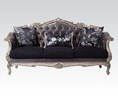 ACME Furniture 51540 Chantelle Sofa with 3 Pillows 3, Antique Platinum And Silver Gray Silk-Like Fabric