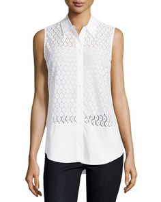 Equipment Colleen Sleeveless Lace Blouse, Bright White New offer @@@ Price :$158 Price Sale $79