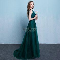 robe de soirée grande taille 2017 longue vert sapin en satin et tulle col V ceinture dentelle