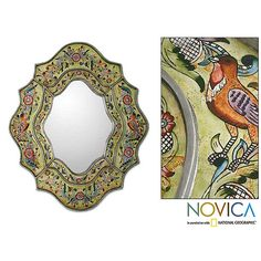 Accent your home or find out Whos the fairest of them all with this floral art deco mirror from Novica. This 23.6-inch mirror is titled Verdant Spring and makes a great wall decoration in any room, and its features a lovely floral frame.