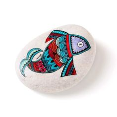 57 / fish handpainted on sea stone / RESERVED by zeustones