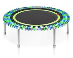 "The bellicon Premium 44"" with a black green mat and blue green bungees."