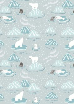 Lewis and Irene - Northern Lights - Walrus and Friends on Icy Grey (Metalic) - 1/4m