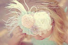 Vintage Tea Party Headband-Baby headband-Couture Headband-Flower Girl-Vintage Inspired Headbands-Photo Prop