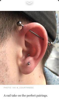 Guys Ear Piercings, Crazy Piercings, Tragus Piercings, Body Piercings, Piercing Tattoo, Anti Helix Piercing, Grunge Jewelry, Industrial Piercing, Cute Earrings