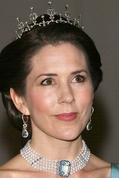 The Jewelry Vault:  Crown Princess Mary of Denmark, wearing her wedding tiara and aquamarine and diamond earrings.  Stone(s): Pearl, Aquamarine