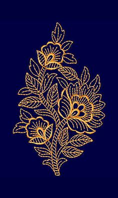 Saree Embroidery Design, Cushion Embroidery, Border Embroidery Designs, Embroidery Flowers Pattern, Hand Embroidery Stitches, Embroidery Applique, Machine Embroidery Designs, Hand Embroidery Projects, Hand Embroidery Videos
