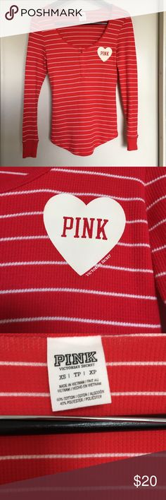 Victoria's Secret Pink striped Henley in Red EUC - rare, super-cute Henley. One snap closure at neckline with Logo heart graphic at chest. Cotton/poly blend. PINK Victoria's Secret Tops