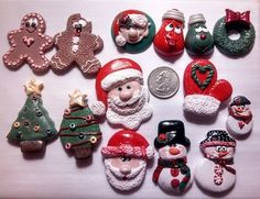 Polymer clay Christmas bow centers and charms