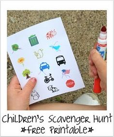 Free printable scavenger hunt list ... would be good for long car ride too