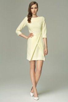 MISEBLA cytrynowa sukienka z zakładkami