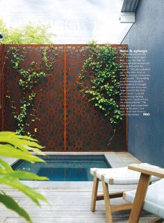 """Love the wrought iron fence with creeper and an """"in ground"""" spa here would be awesome!!!"""
