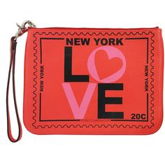 Pre-owned Rebecca Minkoff Coral Love New York Print Leather Clutch (4,610 INR) ❤ liked on Polyvore featuring bags, handbags, clutches, coral handbags, coral purse, coral clutches, red handbags and genuine leather purse