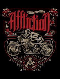 90 Original Designs from the Affliction Artist Den Motorcycle Posters, Motorcycle Art, Motorcycle Wheels, Harley Davidson Art, Bike Illustration, Shirt Print Design, Cycling Art, Vintage Signs, Skull Art
