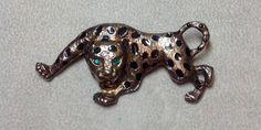 Vintage Leopard Brooch Pin Gold Tone Metal Green Rhinestone Eyes White Rhinestone Nose Animal Wild Cat Black Spots Prowl Walking (18.65 USD) by Hummingbirdswing