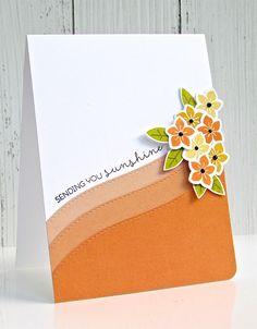 Ombré card with flowers