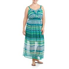 Faded Glory Women S Knit Bottom And Woven Top Maxi Dress From