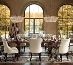 You canThe dining table is often central to the living or dining room. You can make your own pottery barn dining table or relax! Dining Room Design, Dining Room Table, Dining Chairs, Dinning Set, Side Chairs, Dining Area, Pottery Barn, Round Chandelier, Crystal Chandeliers