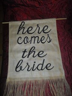 Hessian Banner - Here comes the Bride in the Other Wedding Supplies category was sold for on 23 Nov at by NaturesDesign in Durban Hessian, Here Comes The Bride, Wedding Supplies, Banner, Events, Stuff To Buy, Banner Stands, Banners