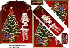 Christmas granddaughter shaped card on Craftsuprint designed by Cynthia Berridge - Christmas granddaughter shaped card - Now available for download!