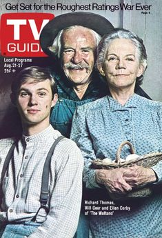 TV Guide August 21, 1976 - Richard Thomas, Will Geer and Ellen Corby of The Waltons.