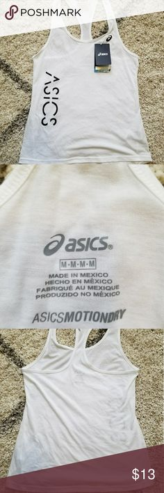 Asics tank top Brand new with tags Asics running tank top. Runs small or if you like the more fitted look. Comment for more info!! Asics Tops Tank Tops