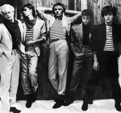 Stripes, dots and scarves from the boys in the '80s. Timeless fabness. LOVE the jackets and baggy trousers.