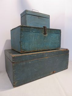 Ebay: Bottom of stack antique chest in best orig blue paint.