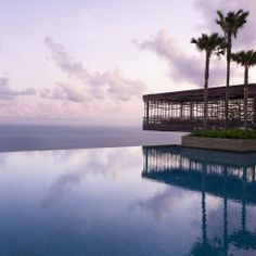 Alila Villas, Uluwatu, Bali Perched high on limestone cliffs, Alila Villas' 50-metre infinity pool takes in spectacular views of the Indian Ocean. And for a panoramic drink by the pool, the Sunset Cabana Bar is suspended over a cliff-side platform. One Bedroom Villa with Pool from £375 per night. For more details, see the Alila Villas website.
