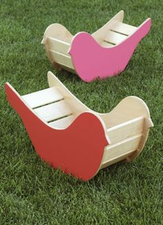 Bird Rockers - rock, climb, slide, play and use for toy or book storage. Project Denneler