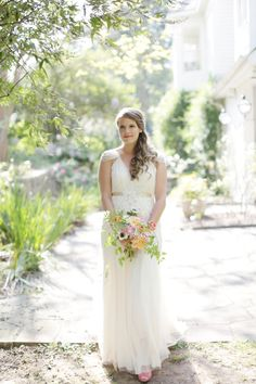 """This bride knew she's wear a Jenny Packham gown -- she chose: """"Willow"""". See the wedding on SMP: http://www.StyleMePretty.com/southeast-weddings/2014/03/05/colorful-southern-wedding-in-palmetto-georgia/ Harwell Photography"""