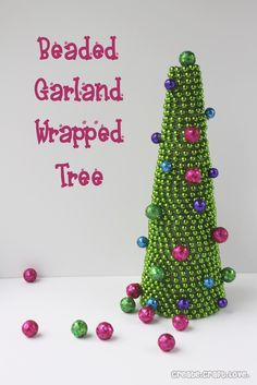 Blissful and Domestic - Creating a Beautiful Life on Less: Beaded Garland Wrapped Tree
