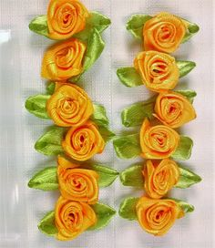 RR-117 Miniature Orange Ribbon Roses by Banglebops on Etsy
