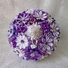 Bridal bouquet handmadecolor purple white by DeShiko on Etsy