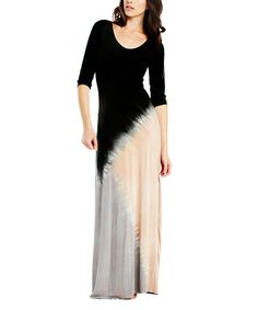 Look at this Emotion Apparel Black & Steel Gray Tie-Dye Maxi Dress on #zulily today!