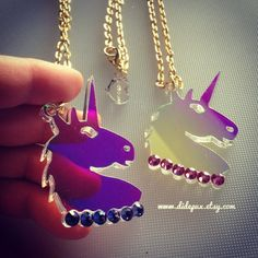 UNICORN+RADIANT+head+laser+cut+acrylic+necklace+by+didepux+on+Etsy,+€15.00