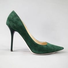 33dd92c38a9f JIMMY CHOO Size 9 Green Suede Pointed Toe Glossy Stiletto -Abel- Pumps  Green Suede