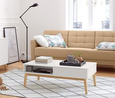 Coffee table with storage space – white – wood – Tchibo - Wohnaccessoires 2020 Steel Properties, Ikea, Coffee Table With Storage, White Wood, Storage Spaces, Sweet Home, New Homes, Furniture, Tchibo Coffee