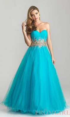 turqoise dresses | Strapless Ball Gowns for Prom, Night Moves Prom Dresses- PromGirl