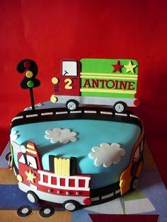 Trucks and car birthday cake