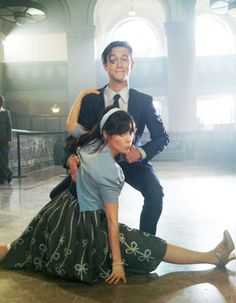 """Joseph Gordon-Levitt and Zooey Deschanel during rehearsal of their song and dance performance of """"Why Do You Let Me Stay Here ?""""........."""