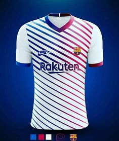 Blue, pink, and white Barcelona jersey concept⚽ Barcelona Football Kit, Barcelona Jerseys, Barcelona Soccer, Sports Jersey Design, Leonel Messi, Football Pitch, Rugby, Soccer Kits, Football Jerseys