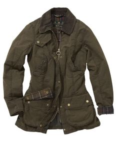 Womens Barbour Vintage Beadnell Waxed Jacket - Olive size 6