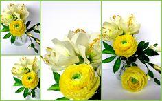 withe amarillis and yellow green ranunculus