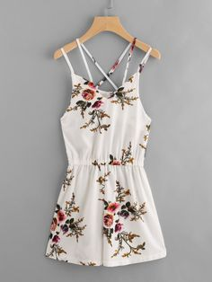 Beige Floral Print Random Sleeveless Cami Straps Criss Cross Back Romper Cute Casual Outfits, Cute Summer Outfits, Casual Dresses, Teen Fashion Outfits, Outfits For Teens, Dress Fashion, Criss Cross, Jw Mode, Mode Rockabilly