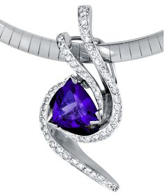 Pendant with trillion shaped tanzanite accented with 0.38ctw of white diamonds.This piece may be reproduced in the gemstone of your choice. Please allow additional time to source stones.