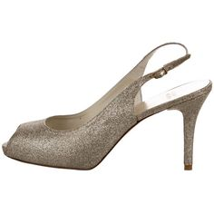Pre-owned Stuart Weitzman Glitter Slingback Pumps (€52) ❤ liked on Polyvore featuring shoes, pumps, gold, slingback shoes, gold pumps, gold glitter shoes, slingback pumps and peep-toe shoes